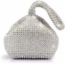 US Women Rhinestones Crystal Evening Clutch Bag Party Prom Wedding Purse Silver
