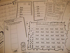 264 Printed Word Families Worksheets. Preschool and Kindergarten CVC, vowels, wo