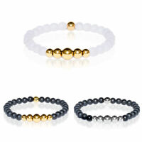 Men&Women Fashion Beaded Charm Natural Stone White/Black Beads Bangle Bracelets