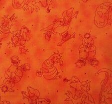 "1 yd 29"" Lil' Monsters Barbara Tourtillotte Clothworks Burgundy on Tonal Orange"