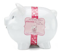 PRINCESS Piggy Bank Ceramic Not Easy But CROWN Fits PINK White New