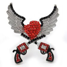 Red Texas Western Cowgirl Dual Revolver Pistol Gun Heart Angel Wings Ring Charm