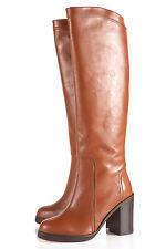 NUOVO TopShop PARSON Premium Stivali gambale alto UK 6 in TAN