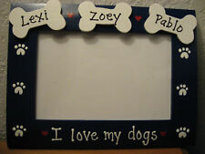 PERSONALIZED - I LOVE MY DOGS - 3 bones and names custom pet photo picture frame