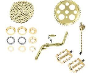 "Gold Twisted Crank Package 6- Items for 20"" Lowrider Cruiser Bikes New"
