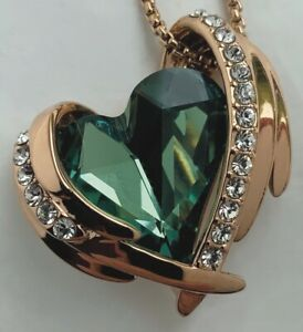 EMERALD HEART rose gold created Swarovski  Necklace, earrings and bracelet set