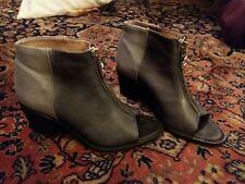 diesel womens sandel boots open toe zip front size 4 37 grey leather