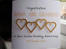 Modern Handmade Personalised Golden Wedding Anniversary Heart Card 50th Mum Dad