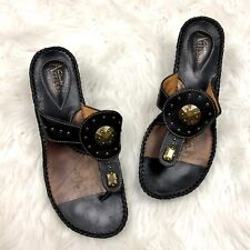 Clarks Artisan 6 Womens Black Leather Tribal Stud Thong Sandals
