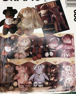 "Vtg Uncut Bear Bearriffic McCalls Crafts 21"" Doll Sewing Pattern 680 10 Versions"