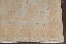 Vintage Geometric Muted Distressed Area Rug Hand-made Faded Peach Carpet 9'x13'