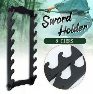8-Tier Wooden Sword Holder Stand Wall Mount Katana Bracket Hanger Display Rack