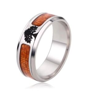 Polished Stainless Steel Ring With Wood Inlay And Etched Tree