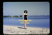 1940's Woman in Bathing Suit and High Heel Shoes, Original Slide d12a