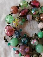 Vintage Venetian Pink Green Wedding Cake Lampwork Pressed Glass Bead Necklace