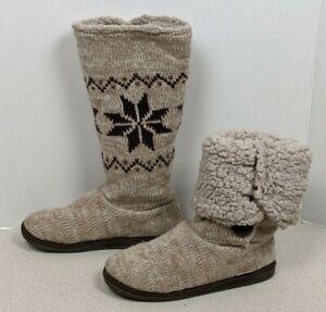 Muk Luks A La Mode Fold Over Slipper Boots House Shoes Nordic Knit Women's Sz 7