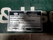 LAND ROVER DISCOVERY 2 TD5 SPECIAL VEHICLES PLATE