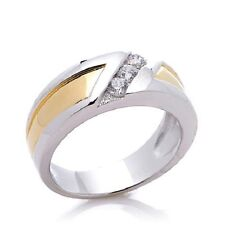 MEN'S STERLING 0.3 CT ABSOLUTE 2-TONE ROUND CHANNEL-SET BAND RING SIZE 10 HSN
