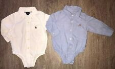 Baby Gap Boy 12-18 Month Lot Collared Logo Long Sleeve One Piece Body Suit White