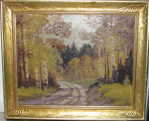 """Ernest T. Fredericks (American, 1877-1959) Oil Painting """"Fiery Autumn"""" c.1940"""