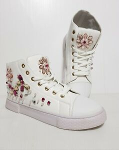 New Women's Shoes Lace Up High Top Sneakers White Crystals EU 39 / US 8.5 / UK 6