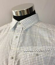 The North Face Men's Medium Shirt S/S Vented White Black Silver Blue Checks A41