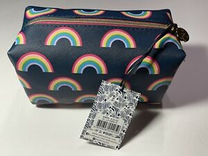 Dabney Lee Navy Blue Rainbow Cosmetic Makeup Travel Bag Case $24