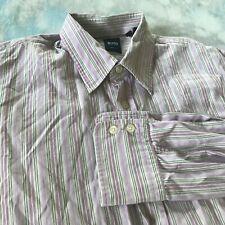 Hugo Boss Sz M (15-33) Handsome Purple Striped Slim Fit Button Down Men Shirt