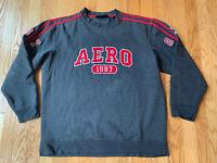 Vntg Aeropostale Mens Crew Neck Pullover Sweatshirt Grey AERO Logo Size Medium M