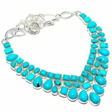 Santa Rosa Turquoise Gemstone Handmade 925 Sterling Silver Necklace 18""