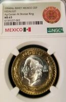 1994 Mo MEXICO 20 PESOS SILVER CORE BI-METAL HIDALGO NGC MS 63 SCARCE COIN !!!