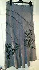 Womens Corduroy-Style Embroidered Brown Per Una Skirt. Size 12.