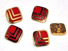 Lot de 5 BOUTONS vintages carré métal doré et émail rouge 9mm de côté button