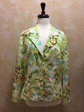 Coldwater Creek Blazer Jacket Floral Green Embroidered Sleeves Sz Large EUC!