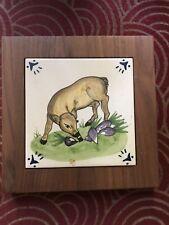 WOODEN BASE HOT PLATE LARGE TERRA COTTA COLOR TILE Trivet Deer Art