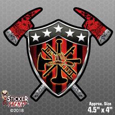 Firefighter BADGE Sticker - Vinyl Decal Truck USA Axe IAFF Cross Honor #FS2090