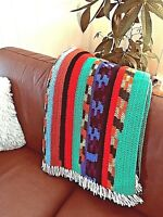 AFGHAN HAND Crocheted BRIGHT CHEERFUL Mexican Multi-color LAP BLANKET THROW