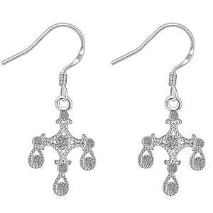 Silver Plated 925 Three Droplet Filigree CZ Simple Elegant Solid Hook Earrings