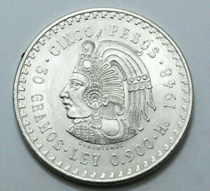 1948 UNC Mexico 5 Cinco Pesos Silver Foreign Coin Ley.900 Silver High Grade Coin
