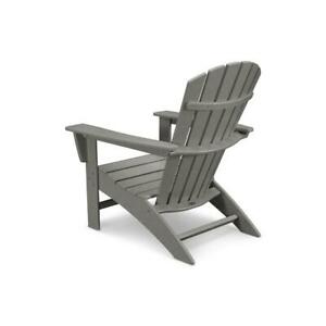 POLYWOOD Patio Chair Plastic Curve Outdoor Back Adirondack Stationary Gray
