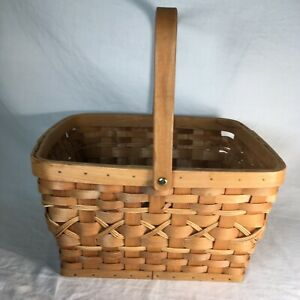 Wicker Reed Basket & Handle Natural Wood Woven Square Picnic Flat Bottom Sturdy