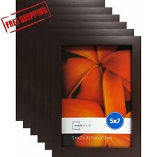 """Set of 6 Brown Picture Frames Home Decor Mainstays 5"""" x 7"""" Linear Frame Photo"""