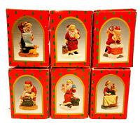 BRINN'S Complete Set of 6 1992 Santa Figurines-Handcrafted/Handpainted-Christmas