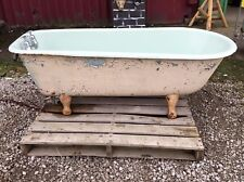 VICTORIAN ROLL TOP CAST IRON BATH / TAPS / PIPING / IRON FEET / SINGLE ENDED