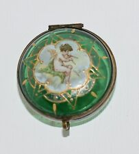 RARE! Antique 1880  HAND PAINTED Emerald Glass *CHERUB/PUTTI* Trinket PATCH Box