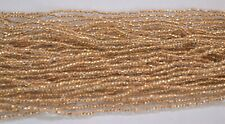 Gold-lined crystal (clear) PRECIOSA® Czech glass 11/0 seed beads, 1 Hank
