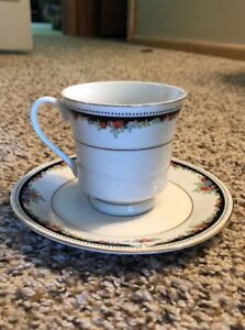 Lynns Silverie Fine China 1991 Cup and Saucer Red Roses & Black & Gold Trim