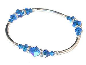 CAPRI BLUE Crystal Bracelet Sterling Silver Handcrafted Swarovski Elements