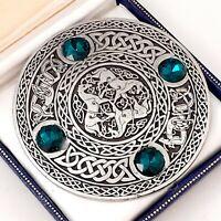 Huge Signed Vintage Ornate Pewter Celtic Scottish Green Glass Brooch Kilt Pin