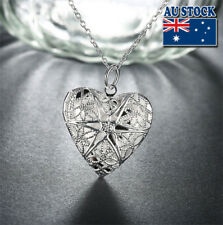 Wholesale 925Serling Silver Filled Retro Hollow Love Heart Lock Pendant Necklace